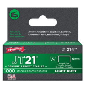 JT21 T27 Staples 6mm (1/4in) Box 5000