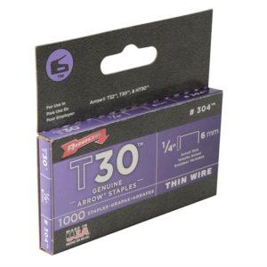 T30 Staples 6mm (1/4in) Box 1000