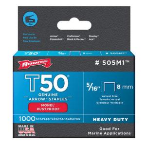 T50M 505m Monel Staples 8mm ( 5/16in) Box 1000