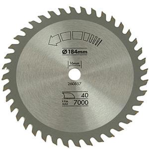 Circular Saw Blade 184 x 16mm x 40T Fine Cross Cut
