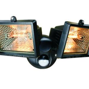 ES120/2 Twin Halogen Floodlight With PIR Black 150 Watt