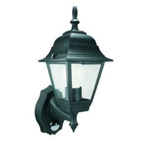 ES94 4-Panel Coach Lantern With PIR Black