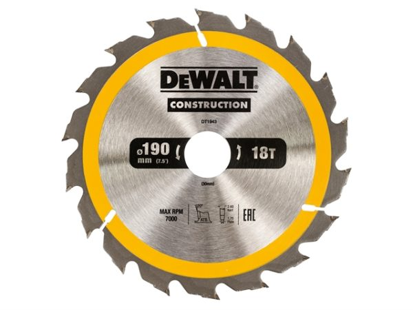 Portable Construction Circular Saw Blade 190 x 30mm x 18T