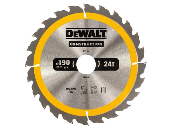 Portable Construction Circular Saw Blade 190 x 30mm x 24T