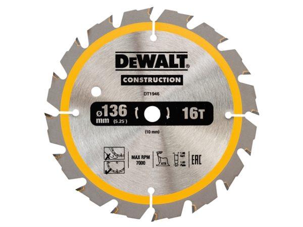 Cordless Construction Trim Saw Blade 136 x 10mm x 16T