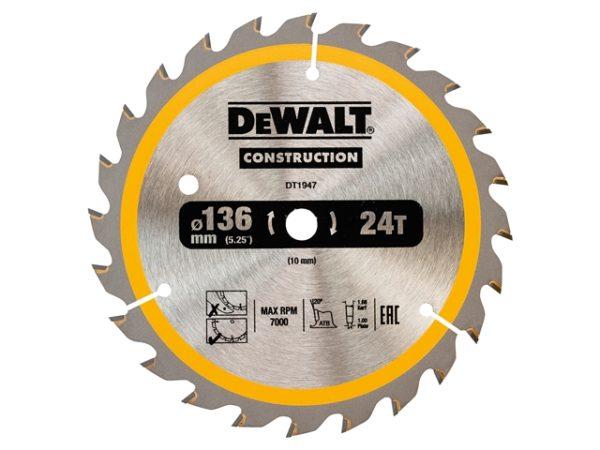 Cordless Construction Trim Saw Blade 136 x 10mm x 24T