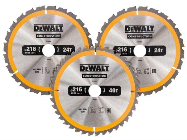 DT1962 Construction Circular Saw Blade 3 Pack 216 x 30mm 2 x 24T 1 x 40T