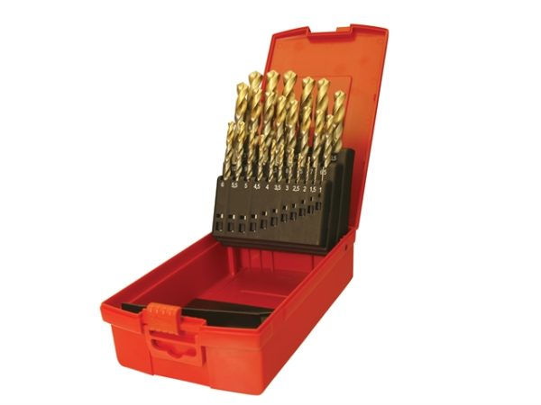 A095 Set 204 HSS TiN Coated Jobber Drill Set of 25 1.0-13.0 x 0.5mm