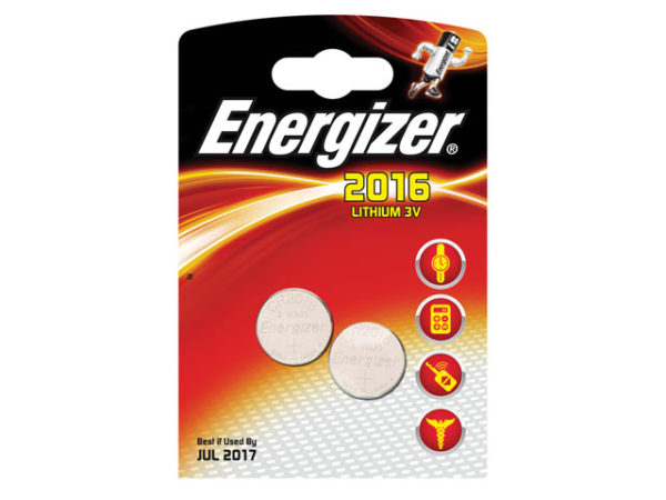 CR2016 Coin Lithium Battery Pack of 2