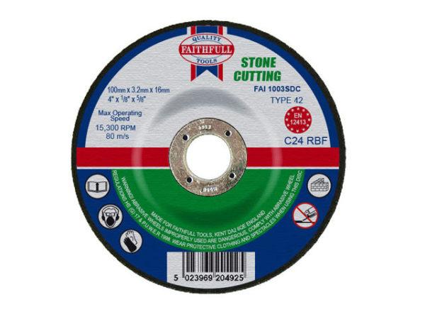 Depressed Centre Stone Cut Off Disc 100 x 3.2 x 16mm