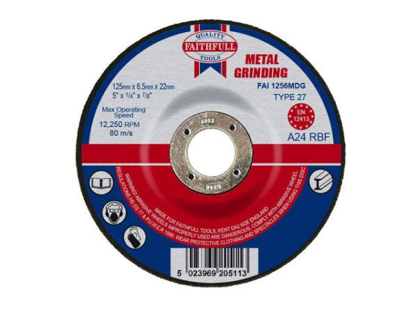 Depressed Centre Metal Grinding Disc 125 x 6.5 x 22.23mm