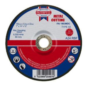 Depressed Centre Metal Cutting Disc 180 x 3.2 x 22.23mm
