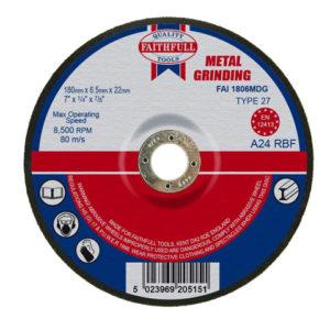 Depressed Centre Metal Grinding Disc 180 x 6.5 x 22.23mm