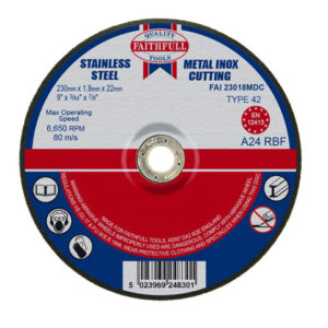 Depressed Centre Stainless Steel Cutting Disc 230 x 1.8 x 22.23mm