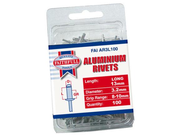 Aluminium Rivets 3.2 x 13mm Long Pre-Pack of 100