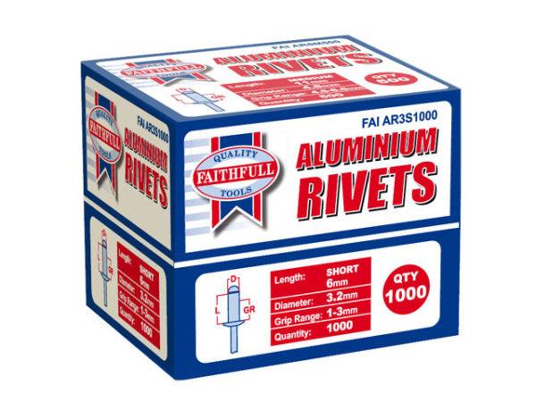 Aluminium Rivets 3.2 x 6mm Short Bulk Pack of 1000