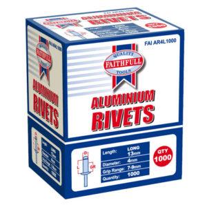 Aluminium Rivets 4 x 13mm Long Bulk Pack of 1000