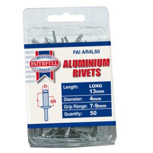 Aluminium Rivets 4 x 13mm Long Pre-Pack of 50
