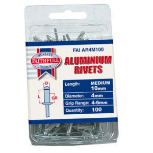 Aluminium Rivets 4 x 10mm Medium Pre-Pack of 100