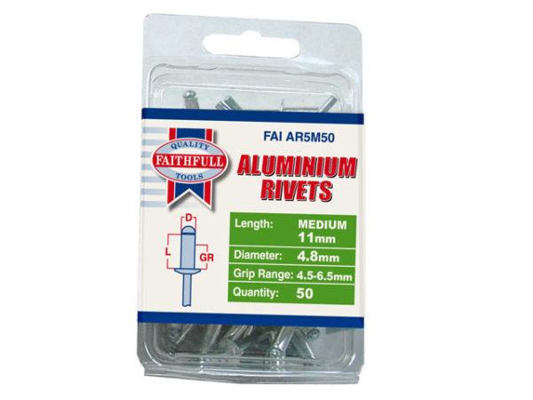 Aluminium Rivets 4.8 x 11mm Medium Pre-Pack of 50