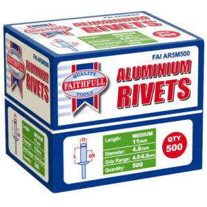 Aluminium Rivets 4.8 x 11mm Medium Bulk Pack of 500