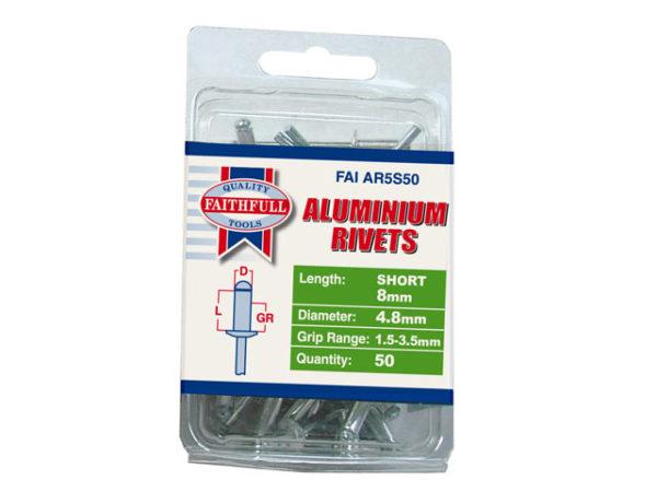 Aluminium Rivets 4.8 x 8mm Short Pre-Pack of 50