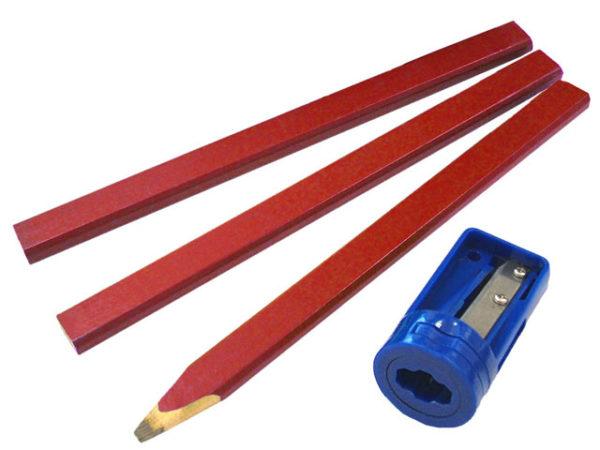 Carpenter's Pencils Red (Pack of 3 + Sharpener)