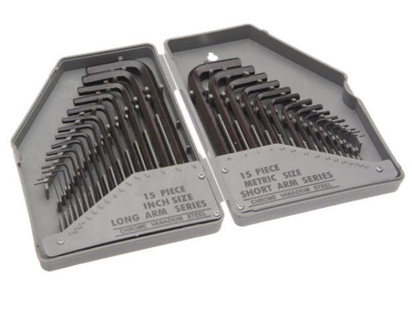 Metric/Imperial Hex Key Set of 30 (0.7-10mm 0.028-3/8in)