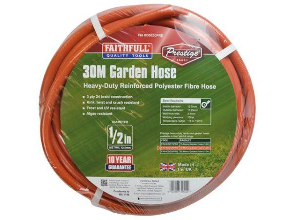 Prestige Heavy-Duty Garden Hose 30m 12.5mm (1/2in) Diameter