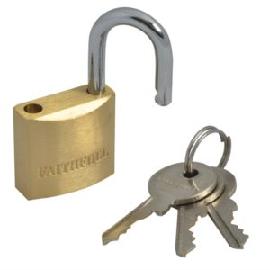 Brass Padlock 25mm 3 Keys