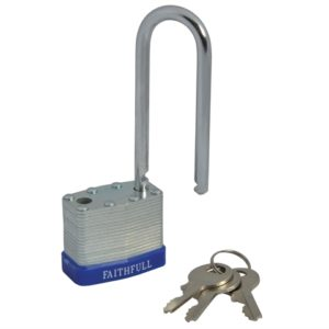 Laminated Steel Padlock 40mm Long Shackle 3 Keys