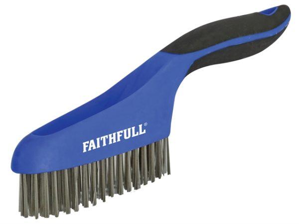 Scratch Brush Soft Grip 4 x 16 Row Stainless Steel