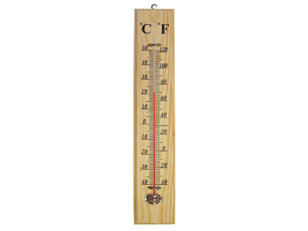 Wall Thermometer - Wood 400mm