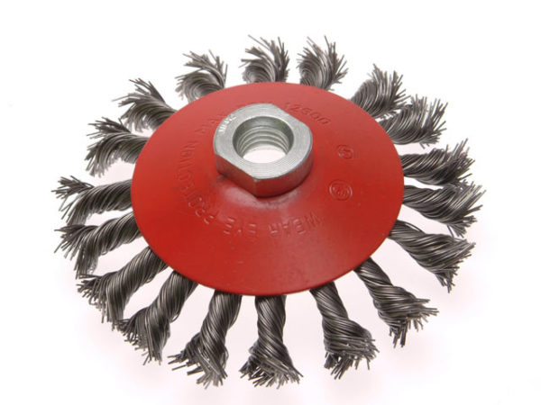 Conical Wire Brush 100mm M14 Bore 0.50mm Wire