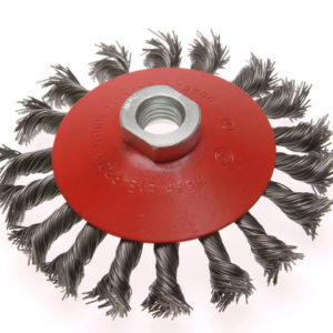 Conical Wire Brush 100mm M10 Bore 1.5 0.50mm Wire