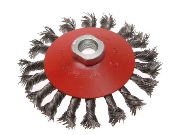 Conical Wire Brush 115mm M14 Bore 2 0.50mm Wire