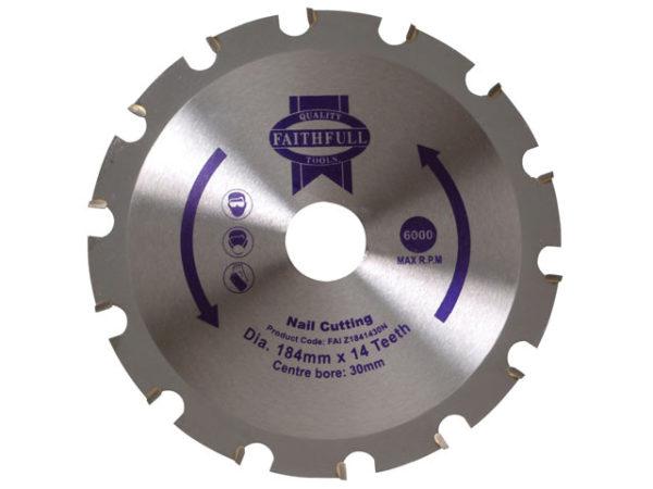 TCT Circular Saw Blade Nail Cutting 184 x 30mm x 14T NEG