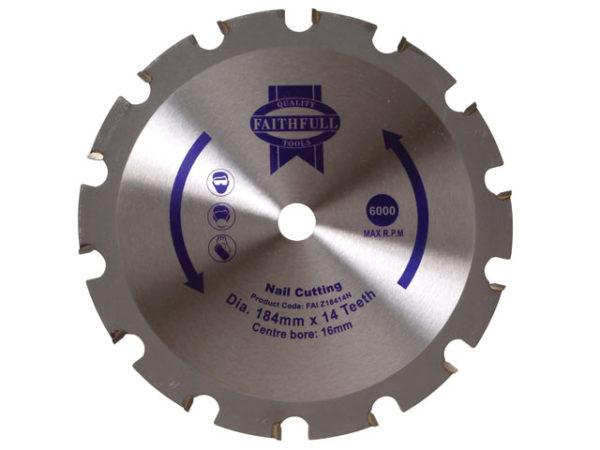 TCT Circular Saw Blade Nail Cutting 184 x 16mm x 14T NEG