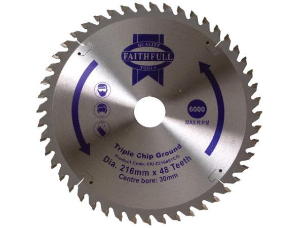 TCT Circular Saw Blade Triple Chip Ground 216 x 30mm x 48T NEG
