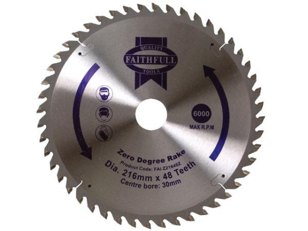 TCT Circular Saw Blade Zero Degree 216 x 30mm x 48T