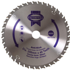 Circular Saw Blade Anti Kick 250 x 30mm x 40T