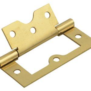 Flush Hinge Brass Finish 75mm (3in) Pack of 2