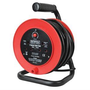 Open Drum Cable Reel 240 Volt 15 Metre 13 Amp 2 Socket