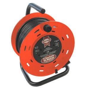 Open Drum Cable Reel 240 Volt 50 Metre 13 Amp 2 Socket