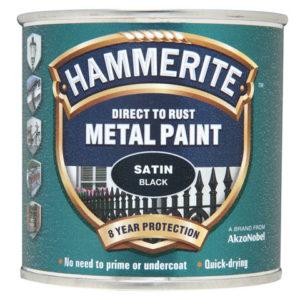 Direct to Rust Satin Finish Metal Paint Black 250ml