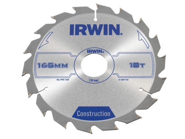 Construction Circular Saw Blade 165 x 30mm x 18T ATB