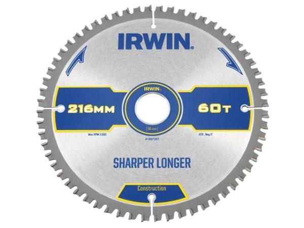 Construction Mitre Circular Saw Blade 216 x 30mm x 60T ATB/Neg