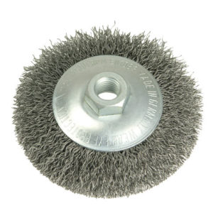 Conical Bevel Brush 100mm M14 Bore 0.35 Steel Wire