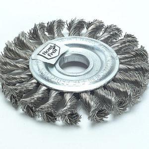 Knot Wheel Brush 125 x 14mm 22.2mm Bore Steel Wire 0.50