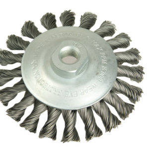 Conical Knot Brush 100mm M14 Bore 0.35 Steel Wire